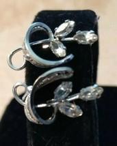 Vintage Am Lee Sterling Silver filigree 925 Screw Back Earrings Clear Rh... - $15.00