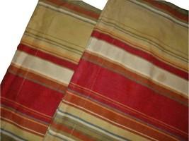 Pottery Barn Joshua Stripe Set of 2 Standard Pillow Shams Red Gold Multi-Color - $34.62