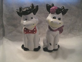 PAIR OF SITING &  SMILING  COWS PIGGY BANKS - BOY & GIRL w/BOW TIE AND S... - $14.85