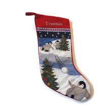 Lands End Needlepoint Christmas Stocking TRENTON Monogrammed Penguins Sn... - $24.70