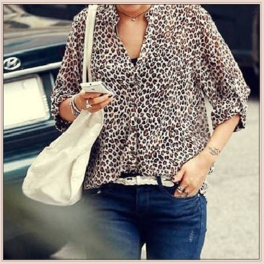 Sheer Chiffon Plus Size Leopard Top Long Sleeve Roll Up Cuff Button Down Shirt