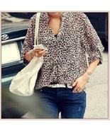 Sheer Chiffon Plus Size Leopard Top Long Sleeve Roll Up Cuff Button Down... - $38.95