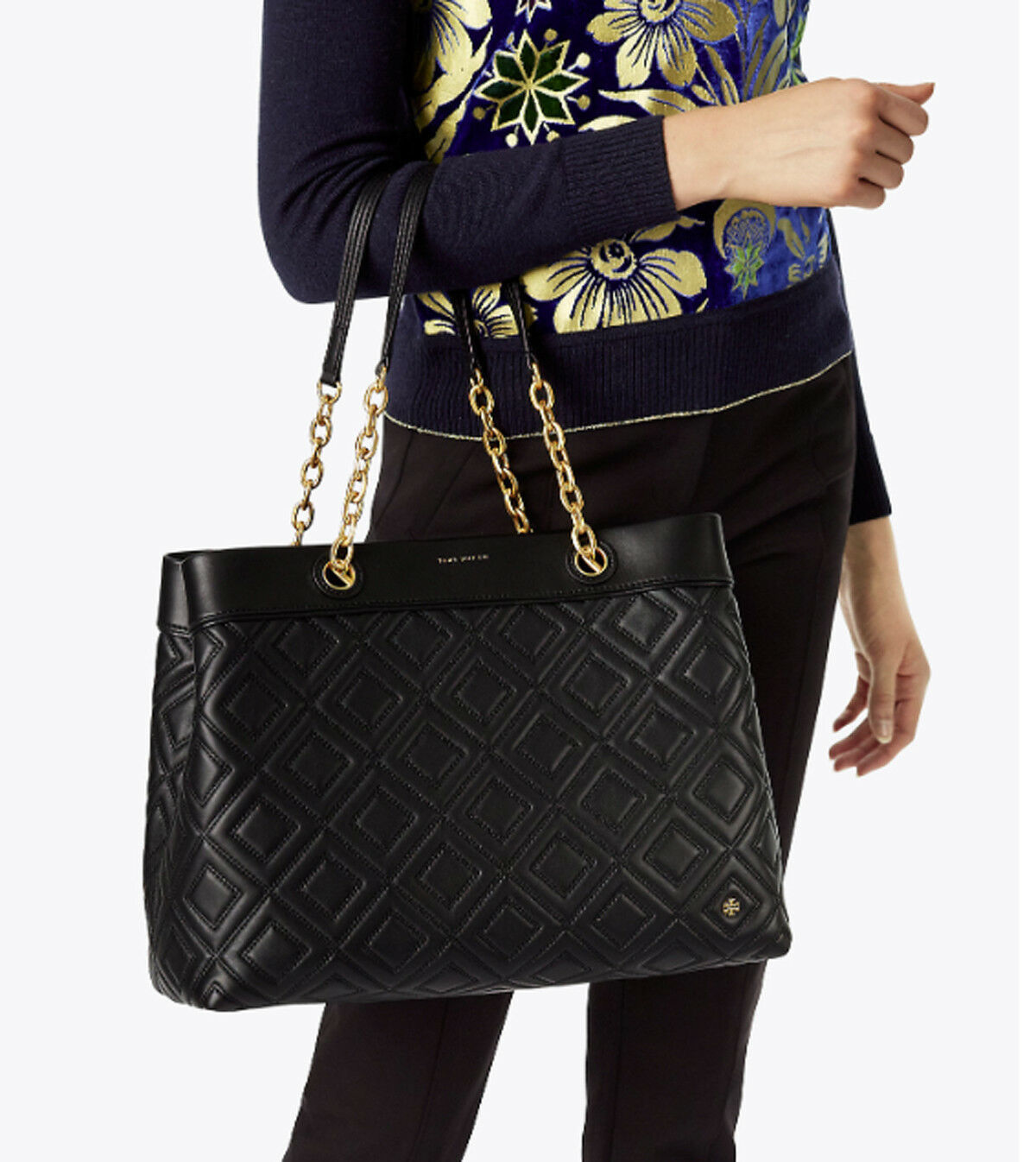 NWT Tory Burch Black Fleming Triple Compartment Shoulder Tote image 12