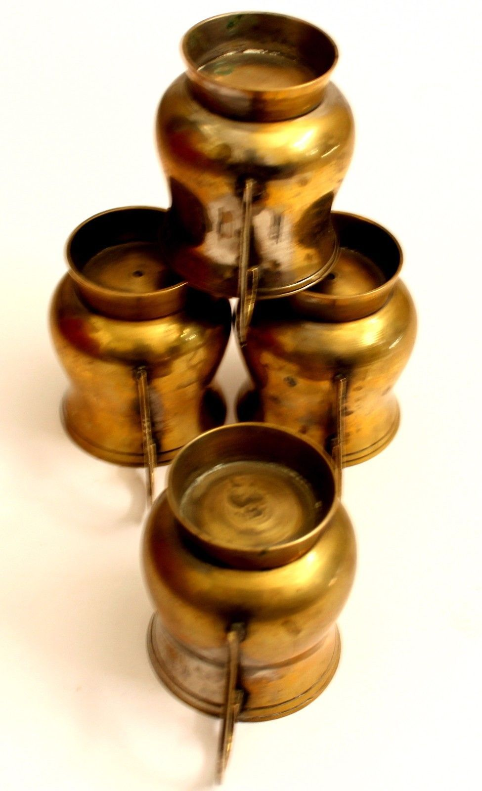 Antique set of 4 cups indian brass decorative collectible mugs old collection.