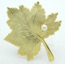 VTG SARAH COVentry Signed Gold Tone Faux Pearl Large Leaf Pin Brooch - $19.80