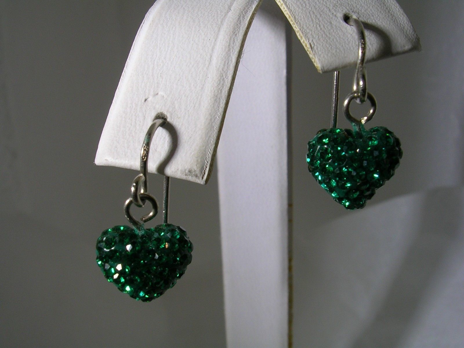 Primary image for GREEN CRYSTAL HEART SHAPED HANGING EARRINGS IN STERLING SILVER