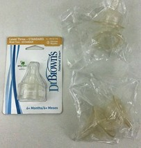 Dr Browns WideNeck Level 3 6mon Up Nipples Teats Silicone New 2 packs 3pc Lot - $15.10