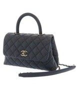 CHANEL Handbag Caviar Leather Navy Matelasse Shoulder Bag A92990 Italy A... - $4,449.30