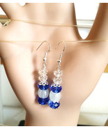 blue crystal earrings crystal bead earrings blue earrings drop dangles g... - $4.99