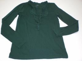 W13655 Womens Ann Taylor Loft Forest Green Polka Dot Ruffle Shirt Long Sleeve Xs - $23.16
