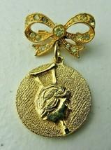 Vintage signed Ora gold tone rhinestone pendant BROOCH Pin - $12.00
