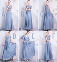 Gray Full Chiffon Bridesmaid Dresses Gray Wedding Bridesmaid Maxi Chiffon Dress  image 7
