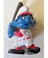 Vintage SMURFS Smurf Baseball player Batter with bat mini PVC Figure toy - $5.99
