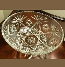 Vintage EAPC Anchor Hocking Star of David Glass Serving  Bowl 10inch Clear. - $25.00