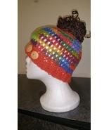 Multi Color Mix Messy Bun HandmadeCrochet Hat/P... - $18.00