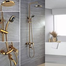 Contemporary Ti-PVD Finish Wall Mount Brass Shower Faucets - $483.07
