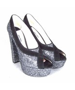 K-MM11135 New Miu Glitter Heels Ladies Shoes Party Size 38.5 US 8.5 - $293.83