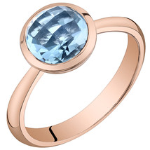 Women's 14k Rose Gold Round Swiss Blue Topaz Solitaire Ring - $399.99