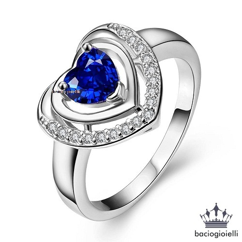 Double Heart Shape Wedding Ring 14k White Gold Plated Heart Shape Blue Sapphire