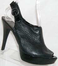Nine West 'Spring Dew' black leather peep toe buckle slingback heel 8.5M - €19,28 EUR
