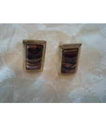 Vintage Cuff Links ~ Banded Brown Cabochons - $8.00