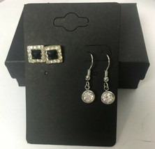 2 Vintage Pairs Of Pierced Earrings ~Silver Rhinestone Drop & Square Rhi... - $11.65