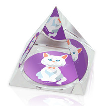 "White Cartoon Cat Animal Art 2"" Crystal Pyramid Paperweight - $15.99"