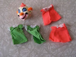 Mattel Liddle Kiddles Komedy Theatre Clown Head & Clothes 1968 Unused - $32.99