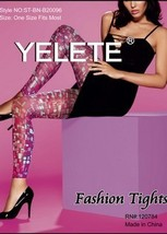 NEW Yelete Womens Mosaic Tiles Pattern Nylons Tights Hosiery Pantyhose S... - €15,89 EUR