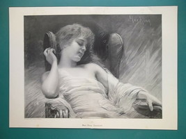 YOUNG GIRL Sleeping in Lounge Chair Dreaming - Victorian Era Print 14.5 ... - $31.05