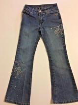 J EAN S Arizona Co Adjustable Waist Girls Size 7 Slim Rhinestone Sequin Bling Euc - $9.46