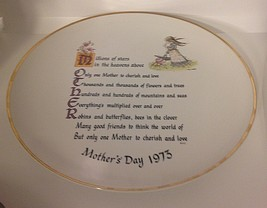 """VTG 1973 Holly Hobbie American Greetings Mother's Day Plate 10""""Commemorative Ed. - $17.57"""