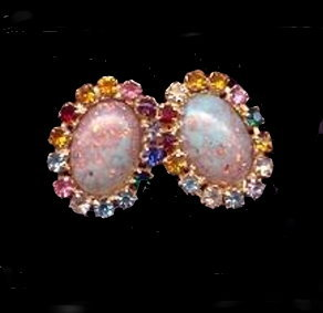 Primary image for Gorgeous Early Multi-Color Rhinestone Earrings