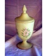 Fenton Yellow Satin Custard Glass Footed Covered Candy Dish Signed - $34.64