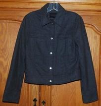 Express Gray Winter Jacket Juniors 5/6 Wool Blend Snaps Pockets Cropped ... - $24.70