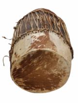 "Vintage HANDMADE Large Native American Cow Hide Wood Drum Almost 19"" High image 5"