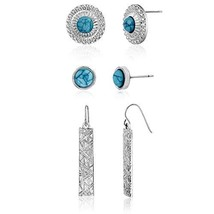 WILLOWBIRD Three Piece Simulated Turquoise Textured Stud and Dangling Ba... - $8.18