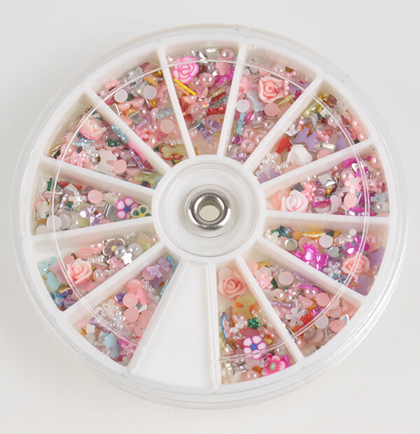 1200pcs Nail Art Tips Mixed Glitters Rhinestones Slice Decoration Manicure Wheel