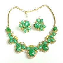Vintage Hobe 57 Necklace Earrings Rhinestone Crystal Green Signed Design... - €136,79 EUR