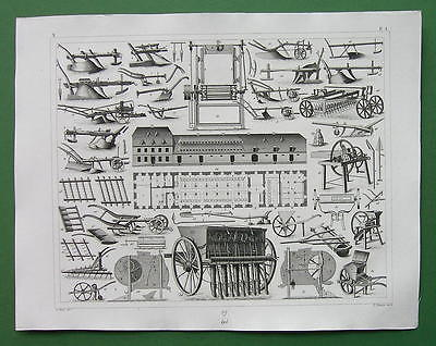 FARMING EQUIPMENT PLOWS CUTTERS CRUSHERS - 1844 SUPERB Antique Print