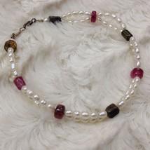 "PEARL Pink Tourmaline Double Strand Handmade Silver Bracelet 7.5"" STONE ... - $9.67"