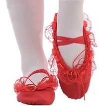 Performance Ballet Shoes/Dance Shoes for Pretty Girl (23.5CM Length) Red Lace