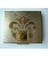 Vintage Two Tone Metal Compact Deco Design Unus... - $20.00
