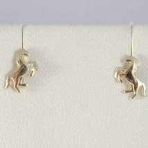 Yellow Gold Earrings 750 18k Stud, Horses, Cavallini, Length 0.8 cm image 1