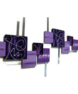 Contemporary Purple Square Wall Sculpture, wood metal wall art- Violette... - $237.59
