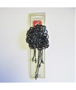 Black Floral Beaded Pin Brooch with Tassel  - $1.75