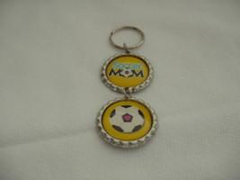 "Soccer Mom Keychain Yellow Flattened Bottle Caps 4"" long - $6.00"