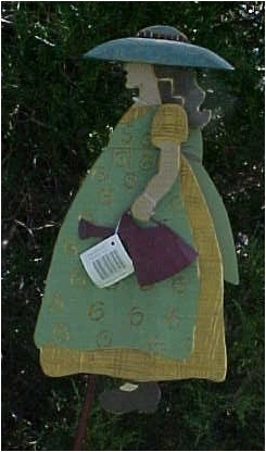 Primary image for Yard Stake, Distressed Wood, Gardening Girl