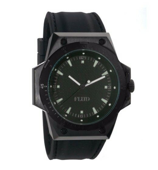 Flud F-22 Black Stainless Steel Wrist Watch + 3 silicone rubber Bands New in Box