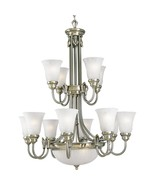 Colonial Silver 12 Light Chandelier Etched Glass Progress Lighting P4111-43 - $1,335.93